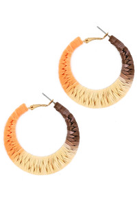 S1-2-1-LBE7484MU HOOP COVERED IN MULTICOLOR RAFFIA MATERIAL EARRINGS/3PAIRS