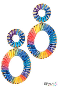 S1-3-4-LBE7485MU OVAL MULTICOLOR RAFFIA FASHION EARRINGS/3PAIRS