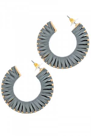 S1-7-4-LBE7488GY GRAY GOLD HOOP RAFFIA EARRINGS/3PAIRS