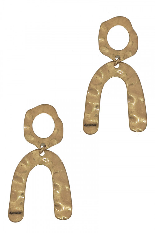 S1-5-3-LBE7493WNGD WORN GOLD HORSE SHOE FASHION EARRINGS/3PAIRS