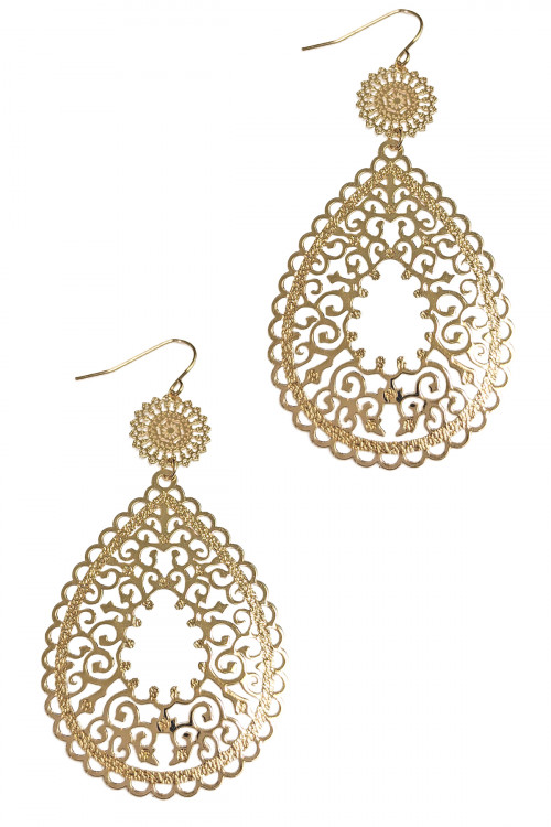 S1-6-2-LBE7497GD SHINY GOLD FILIGREE FASHION DROP EARRINGS/6PAIRS