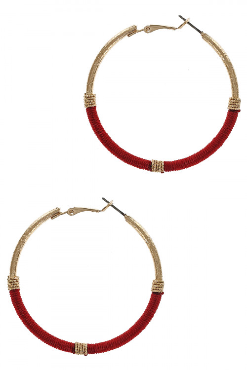 S1-6-2-LBE7500RD RED GOLD HOMEMADE THREADED HOOP EARRINGS/3PAIRS