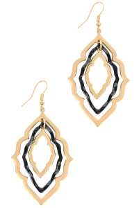 S1-8-4-LBE7890JT JET BLACK RESIN MOROCCAN EARRINGS/3PAIRS