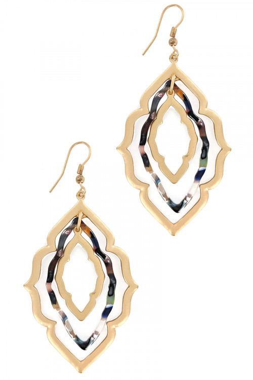 S1-8-4-LBE7890MU2 MULTICOLOR RESIN MOROCCAN EARRINGS/3PAIRS
