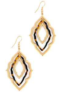 S1-3-1-LBE7890TUR TORTOISE RESIN MOROCCAN EARRINGS/3PAIRS