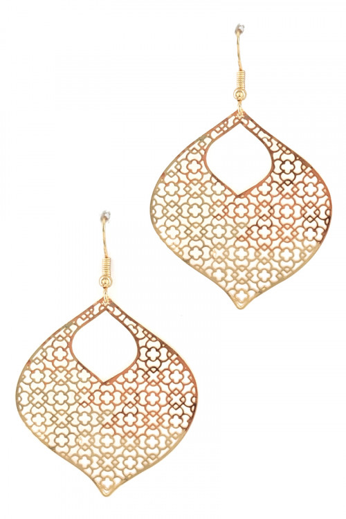 S1-7-3-LBE7893GD GOLD TEAR DROP FASHION EARRINGS/3PAIRS