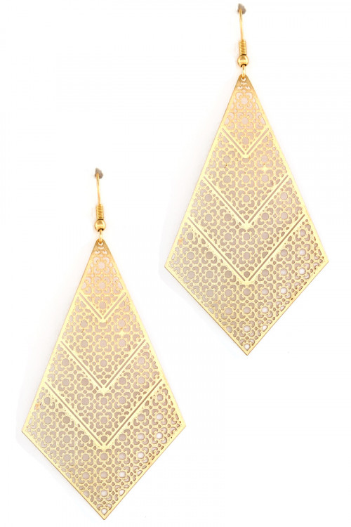 S1-1-5-LBE7895GD GOLD TRIANGULAR DROP EARRINGS/3PAIRS