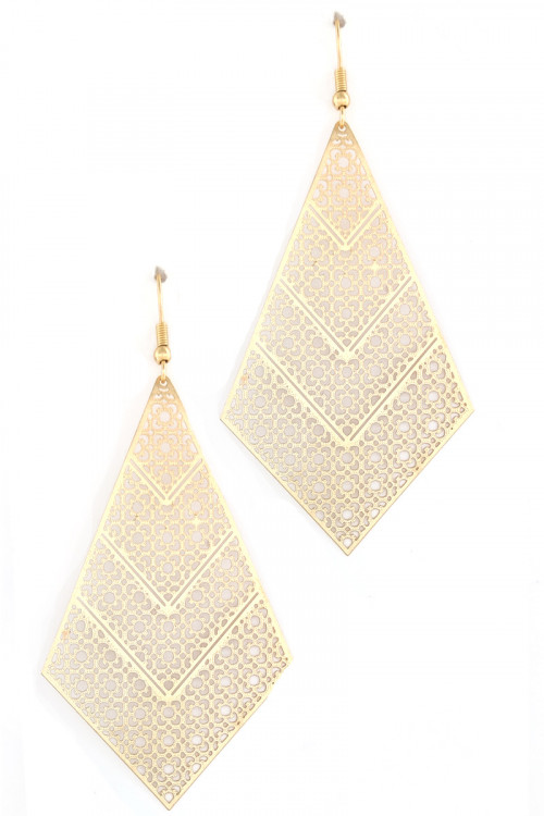 S1-1-3-LBE7895MTGD MATTE GOLD TRIANGULAR DROP EARRINGS/3PAIRS