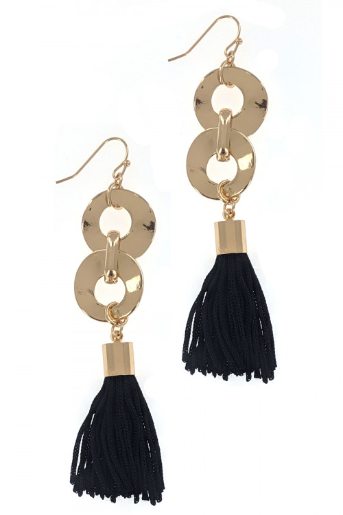 S1-3-3-LBE7903BK BLACK GOLD WITH TASSEL DANGLING EARRINGS/3PAIRS