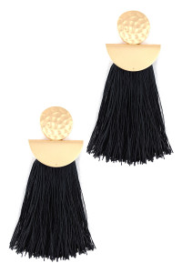 S1-3-2-LBE7907BK BLACK MATTE GOLD WITH TASSEL FASHION EARRINGS/3PAIRS