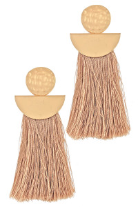 S1-3-4-LBE7907NT MATTE GOLD WITH NATURAL COLOR TASSEL FASHION EARRINGS/3PAIRS