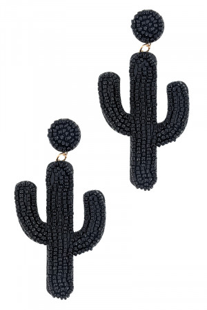 S1-1-5-LBE7922JT JET BLACK BEADED CACTUS EARRINGS/3PAIRS