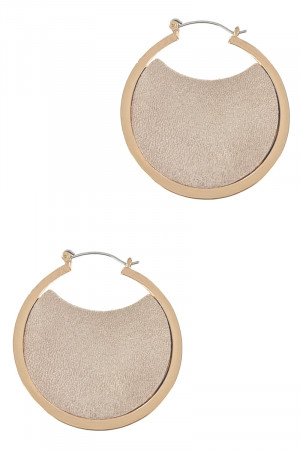 S1-3-4-LBE7925GD GOLD HOOP EARRINGS WITH LEATHER INTERIOR DESIGN/3PAIRS