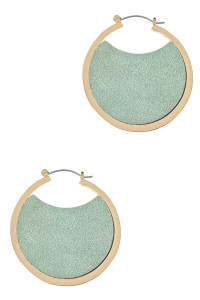 S1-3-4-LBE7925MT MINT GOLD HOOP EARRINGS WITH MINT COLOR LEATHER INTERIOR DESIGN/3PAIRS