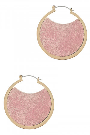 S1-3-4-LBE7925PK PINK GOLD HOOP EARRINGS WITH PINK COLORED LEATHER INTERIOR DESIGN/3PAIRS