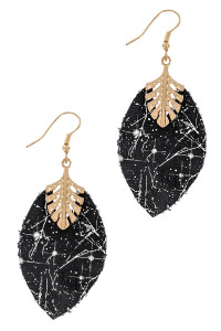 S1-1-3-LBE7926BK BLACK LEATHER & GOLD LEAF DROP EARRINGS/3PAIRS