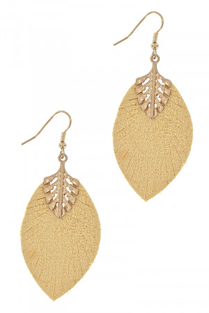 S1-1-3-LBE7926MS MUSTARD LEATHER & GOLD LEAF DROP EARRINGS/3PAIRS