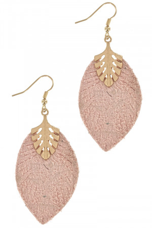 S1-1-3-LBE7926PK PINK LEATHER & GOLD LEAF DROP EARRINGS/3PAIRS