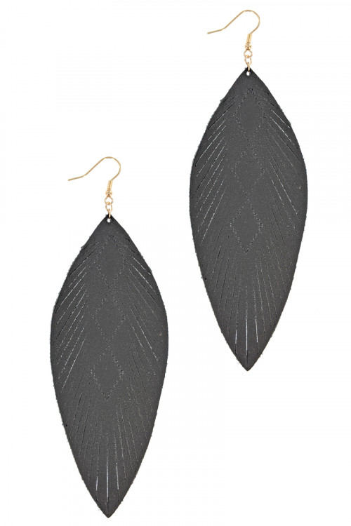 S1-6-2-LBE7928JT JET BLACK LONG LEATHER LEAF STYLE EARRINGS/3PAIRS