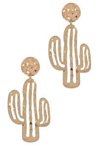 S1-8-4-LBE7929WGD WORN GOLD CACTUS FASHION EARRINGS/3PAIRS