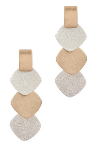 S1-4-1-LBE7931WNGDWNSL SILVER & GOLD HAMMERED TEXTURED LAYERED EARRINGS/3PAIRS