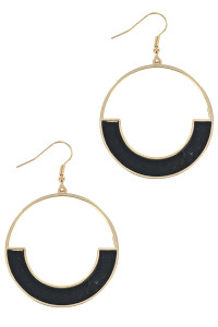 S1-7-3-LBE7934JT GOLD ROUND WITH BLACK ANIMAL PRINT EARRING/3PAIRS