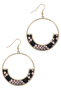 S1-4-3-LBE7934NT GOLD ROUND WITH ANIMAL PRINT EARRING/3PAIRS