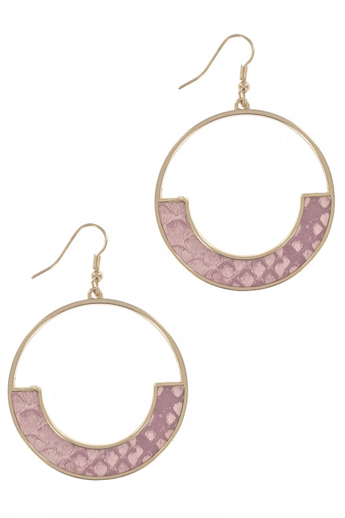 S1-4-3-LBE7934PK GOLD ROUND WITH PINK ANIMAL PRINT EARRING/3PAIRS