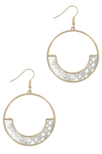 S1-4-2-LBE7934WH GOLD ROUND WITH WHITE ANIMAL PRINT EARRING/3PAIRS