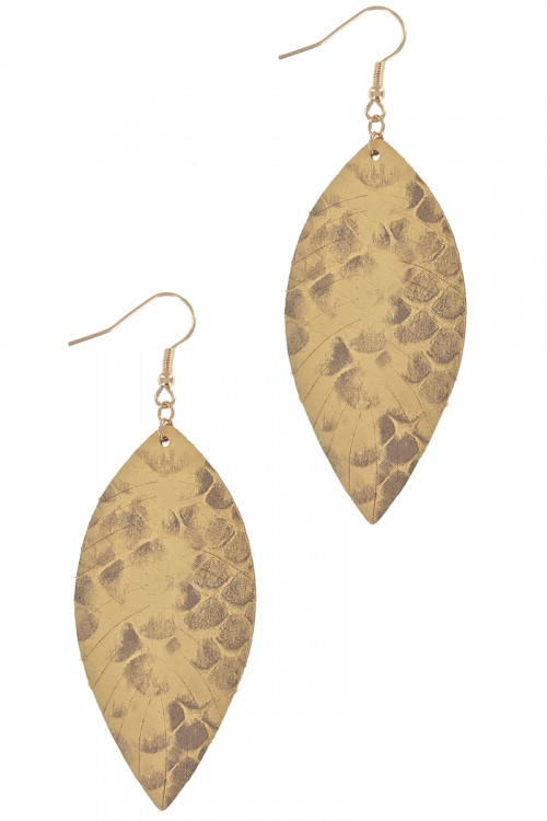S1-5-2-LBE7935MS MUSTARD VEAGAN LEATHER FASHION LEAF TEAR DROP EARRINGS/6PAIRS