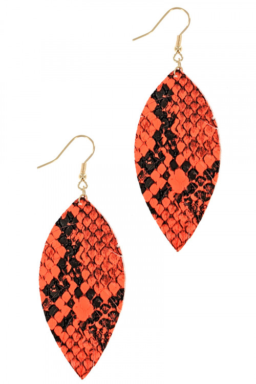 S1-1-3-LBE7935OR ORANGE ANIMAL PRINT LEAF DROP EARRINGS/3PAIRS