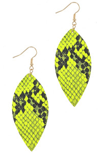 S1-1-3-LBE7935YL YELLOW NEON ANIMAL PRINT LEAF DROP EARRINGS/3PAIRS