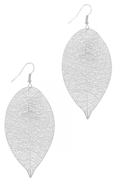 S1-1-5-LBE7939MTSL MATTE SILVER DETAILED LEAF DROP EARRINGS/3PAIRS