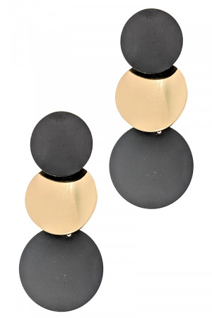 S1-4-2-LB37940GDBK MATTE BLACK AND GOLD TRIPPLE CIRCLE DROP EARRINGS/3PAIRS