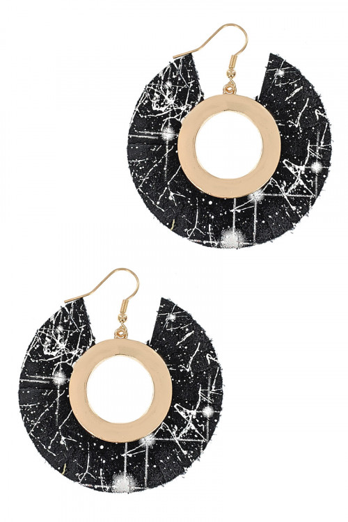 S1-5-1-LBE7941BK GOLD AND BLACK VEGAN LEATHER FASHION EARRINGS/3PAIRS