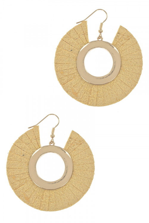 S1-5-1-LBE7941MS GOLD MUSTARD MUSTARD AND GOLD VEAGAN LEATHER FASHION EARRINGS/3PAIRS