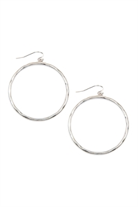 S22-11-5-E8241WSV - HAMMERED CAST HOOP EARRINGS - SILVER/6PAIRS