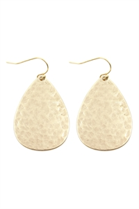 S25-6-2-E8359WGD MATTE GOLD HAMMERED CAST TEARDROP EARRINGS/6PAIRS