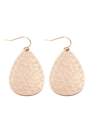 S17-12-4-E8359WRSG MATTE ROSE GOLD HAMMERED CAST TEARDROP EARRINGS/6PAIRS