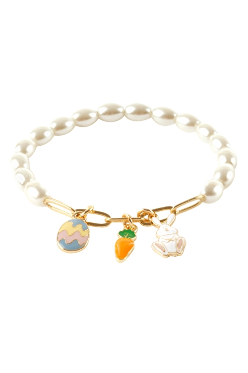 S1-3-4-EB2664GDCRM - GLASS PEARL METAL EASTER BUNNY BRACELET-GOLD CREAM/6PCS