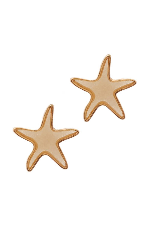 A3-3-3-EE0557GDIVY- DRUZY METAL STARFISH SEALIFE POST EARRINGS-IVORY/6PCS
