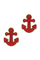 A2-2-3-EE0562GDRED- DRUZY METAL ANCHOR POST EARRINGS-RED/6PCS