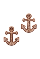 A2-2-3-EE0562RGRG- DRUZY METAL ANCHOR POST EARRINGS-ROSE GOLD/6PCS
