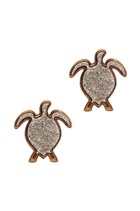 S22-11-3-EE0596GDRD - DRUZY METAL SEALIFE TURTLE POST EARRINGS-SILVER/6PCS