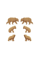 S1-7-3-EE0804WG - METAL BEAR 3 PAIR POST EARRINGS-MATTE GOLD/6PCS