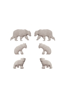 S1-7-3-EE0804WS - METAL BEAR 3 PAIR POST EARRINGS-MATTE SILVER/6PCS