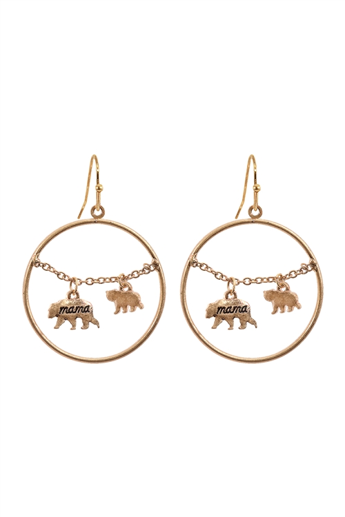 S1-7-3-EE0837WG - MAMA BEAR CHAIN ROUND HOOK  EARRINGS-MATTE GOLD/6PCS