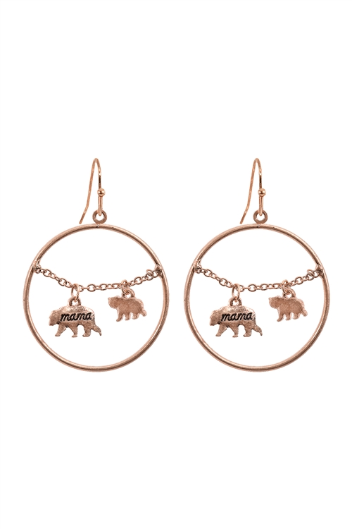 S1-7-3-EE0837WRG - MAMA BEAR CHAIN ROUND HOOK  EARRINGS-MATTE ROSE GOLD/6PCS