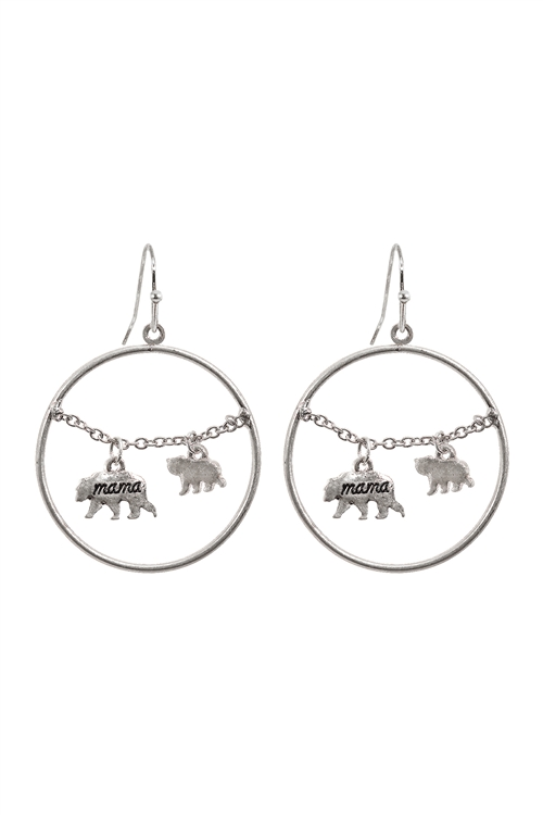 S1-7-3-EE0837WS - MAMA BEAR CHAIN ROUND HOOK  EARRINGS-MATTE SILVER/6PCS