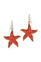 A2-2-2-EE0970WGCRL- STRAW STARFISH SEALIFE HOOK EARRINGS- CORAL/6PCS